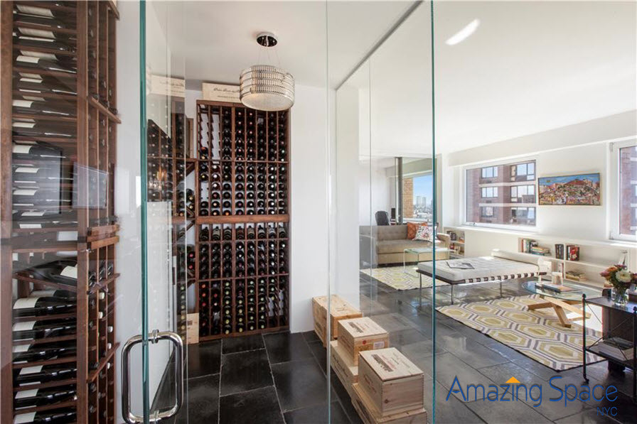 apartment staging by Debbie Oulvey has wine room